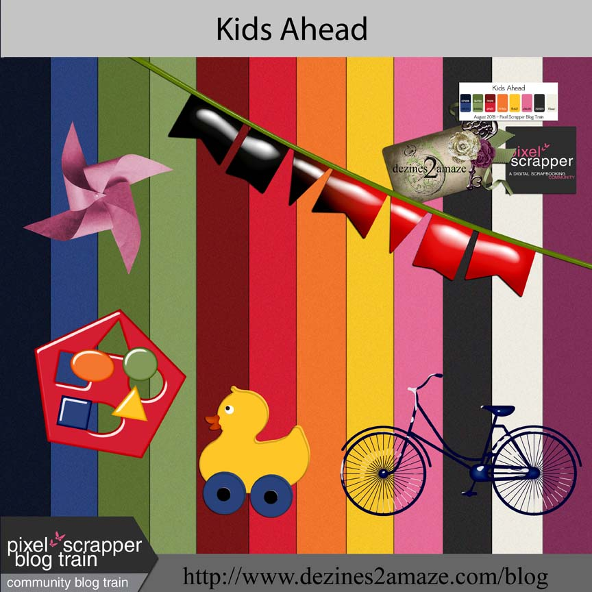 Pixel Scrapper Blog-Train Kids Ahead